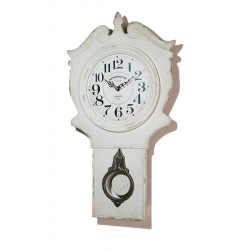 Reloj de pared con p ndulo madera patinada blanco for Reloj de pared con pendulo
