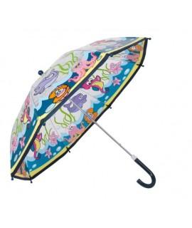 Paraguas infantil con tela transparente mundo submarino. Medidas: 57xØ67 cm.