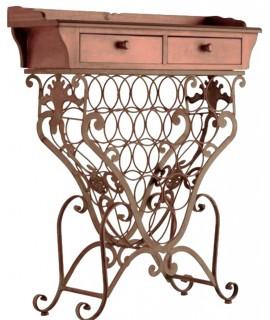 Mueble botellero madera y forja