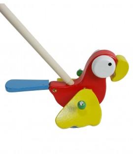 Arrastre de madera pájaro rojo. Medidas totales: 15x14x20 cm.