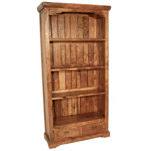 Librería estantería rústica de madera maciza de acacia con 4 baldas. Medidas totales: 180x90x35 cm.