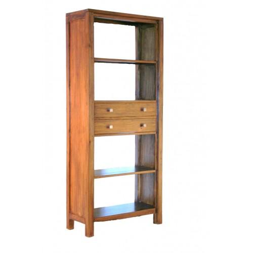 Estantería librería de madera de teca. Medidas totales: 185x80x35 cm.