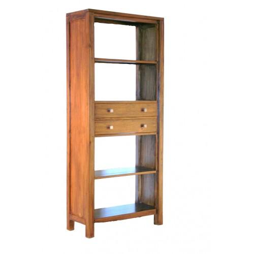 biblioth que en bois avec deux tiroirs teck d cor rustique. Black Bedroom Furniture Sets. Home Design Ideas
