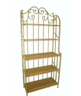 Estantería librería  color blanco de  hierro y madera. Medidas totales: 194x80x35 cm.