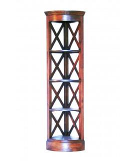 Estantería librería esquinera de madera caoba oriental. Medidas totales 180x41x41 cm.