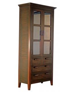 Armario vitrina de madera de caoba