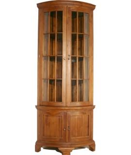 Vitrina para esquina de madera de teca