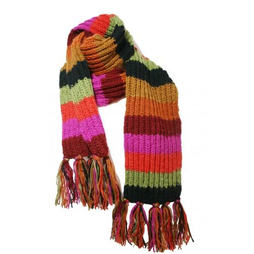 Bufanda de lana 100 lana multicolor artesanal - Bufandas de lana originales ...