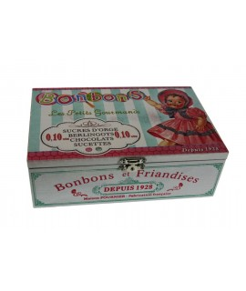 Caixa de fusta per a bombons decorada estil vintage. Mesures: 6,5x20x13 cm.