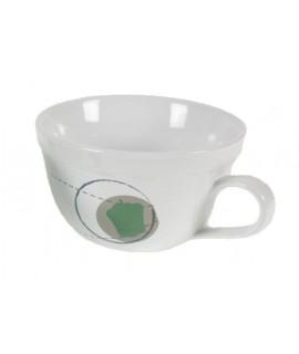 Taza sopera de cerámica blanca