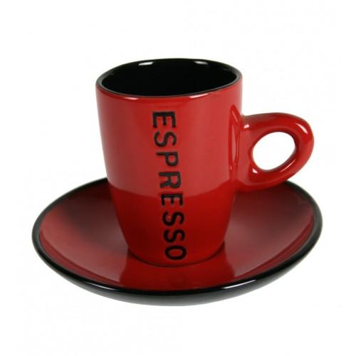Taza de caf espresso color rojo con plato tiles cuina for Tazas para cafe espresso