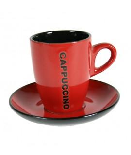 Taza de café Cappuccino con plato color rojo. Medidas conjunto: 10xØ 13 cm.