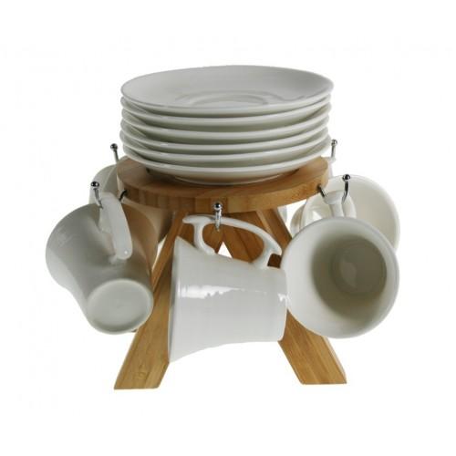Tazas Café color Blanco con soporte de Madera