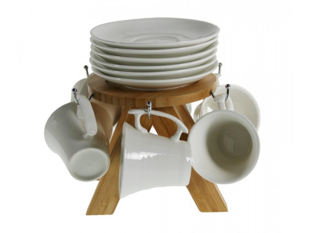 Tazas caf color blanco con soporte de madera tiles cuina for Decoracion con tazas de cafe