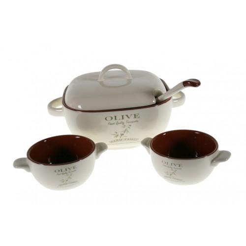 Sopera y tazas de cerámica