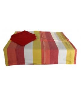 Mantel rayado tricolor con servilletas