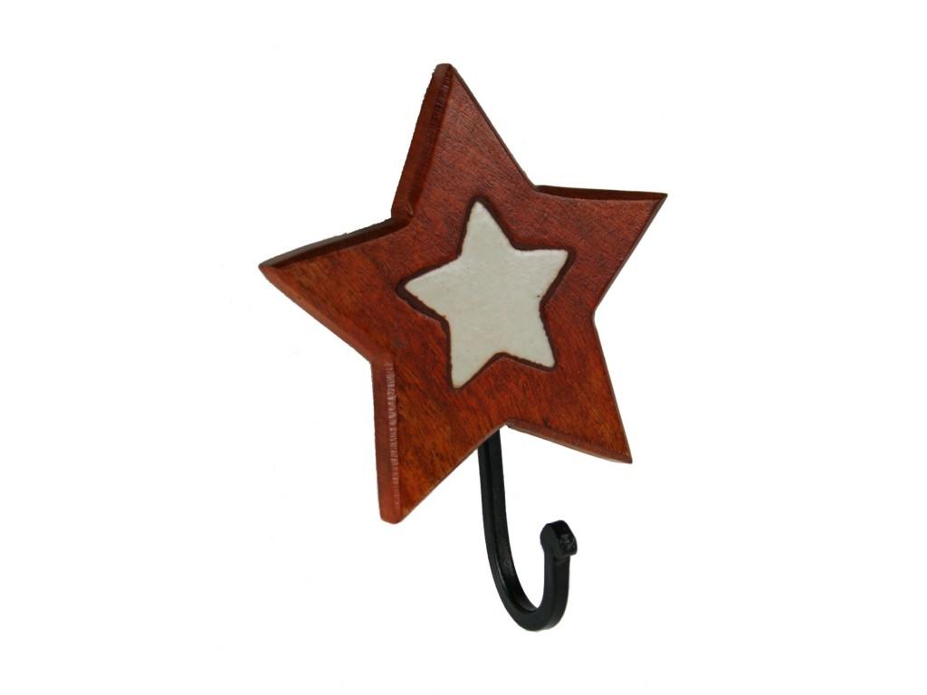 Comprar online colgador perchero de madera y cer mica de for Colgadores de madera