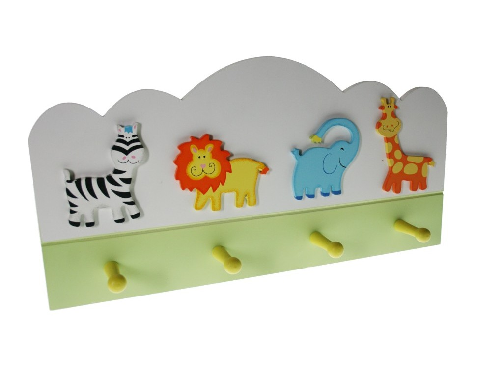 Colgador perchero de madera jungla motivos y dise o infantil for Perchero pared infantil