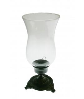 Portavelas copa vidrio y metal envejecido