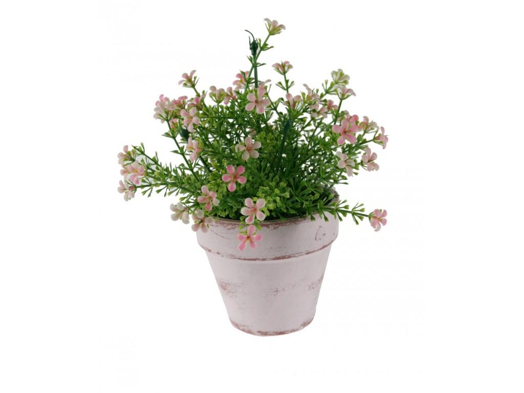 Maceta con flores color rosa decoraci n hogar for Plantas aromaticas en macetas