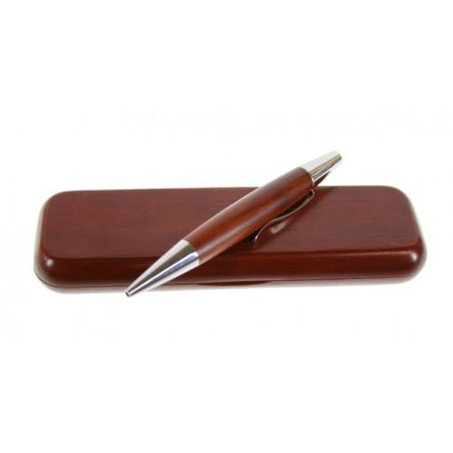 Bolígrafo de madera con estuche