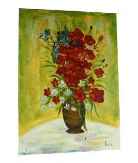 Cuadro al óleo con motivos florales.