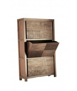 Mueble zapatero en madera de caoba oriental de gran capacidad para 18 pares de zapatos. Medidas totales: 127x80x25 cm.