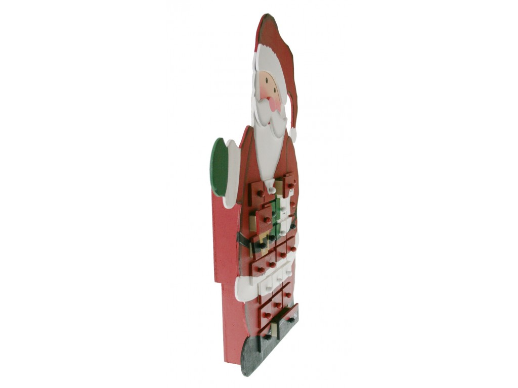 Calendario adviento de madera papa noel decoraci n navide a - Calendario adviento madera ...