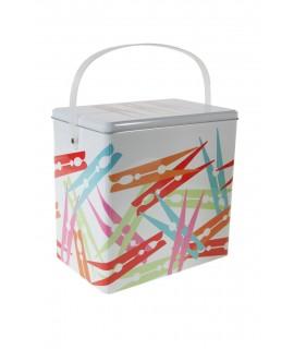 Caixa metall pinces color blanc