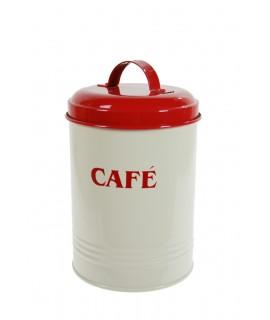 Bote metal café rojo crema.