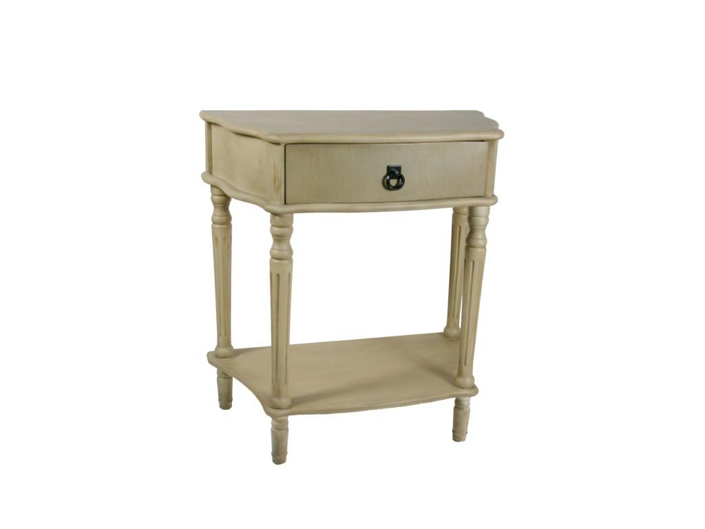 Table de chevet patine blanc avec tiroir central d cor - Table de nuit blanc ...