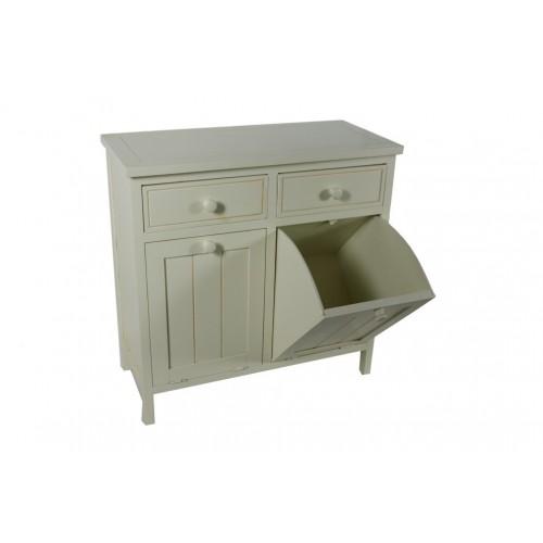 Cajonera blanca para baño con cajones y separadores de ropa para lavar. Medidas: 82x83x38 cm.