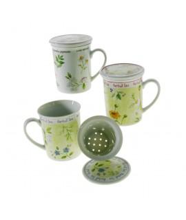 Mug  infusiones con tapa y colador de cerámica.