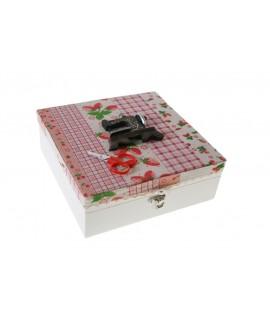 Caja costurero con tapa tela