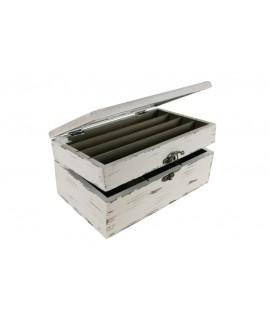 Caja para infusiones de madera color blanco mi pequeño especiero  dos alturas con departamentos. Medidas totales: 12x25x15
