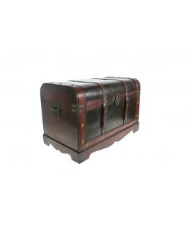 Baúl de madera grande con aplicaciones de piel