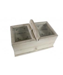 Costurero  de madera maciza decapada con cajón central y tapa con ventana.  Medidas totales: 24x39x23 cm.