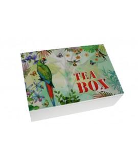 Caja de madera para infusiones con dibujo de Loros en la tapa. Medidas: 9x24x17 cm.