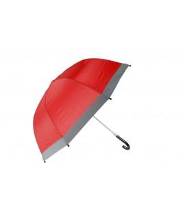 Paraguas infantil color rojo con banda perimetral reflectora. Medidas: 60xØ74 cm.