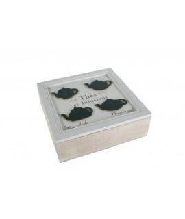 Caja de madera con 9 separadores en interior para bolsitas de thé. Medidas: 8x24x24 cm.