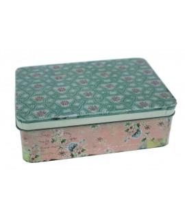 Caja grande metálica con decoración