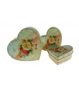 Caja  corazón de metal mediana Rosas