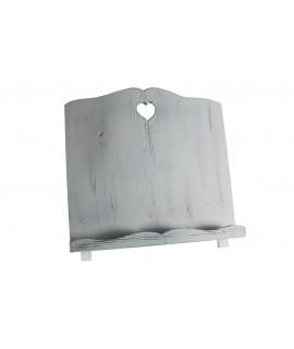 Atril de madera envejecida color blanco forma corazón