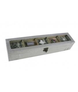 Costurero pequeño de madera decorada color gris con ventana en tapa. Medidas totales: 8x40x9 cm.