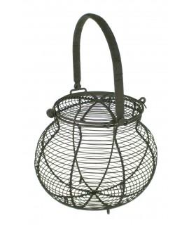 Cistella ouera de filferro amb tapa. Mesures: 20xØ22 cm.
