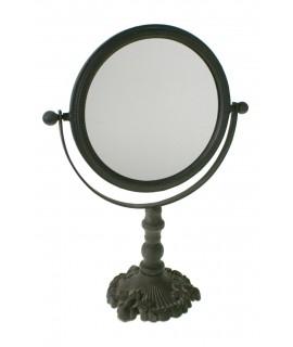 Espejo de metal para tocador con luna movible. Medidas: 40x29x14 cm.