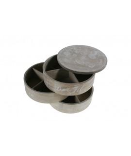 Costurero de madera con tres alturas redondo color gris con patina blanca. Medidas totales: 15xØ17 cm.