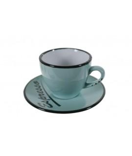 Taza de café espresso con plato color azul. Medidas: 5x Ø10 cm.