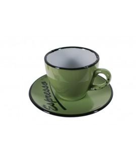 Taza de café espresso con plato color verde. Medidas: 5x Ø10 cm.