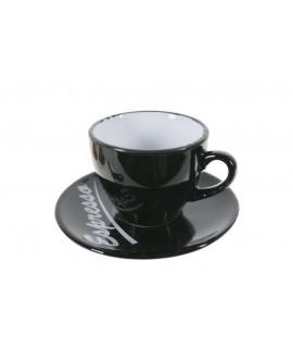 Taza de café espresso con plato color negro. Medidas: 5x Ø10 cm.